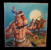 "VIRGIL PYLES SGN. ILLUSTRATION O/C ""AMERICAN INDIAN W/"