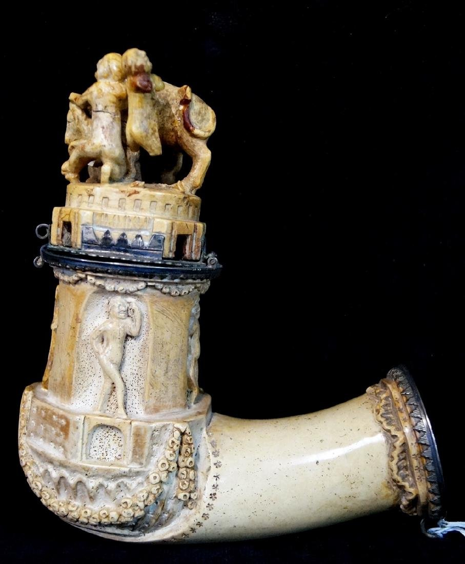 MEERSCHAUM PIPE 4 PEOPLE WITH DOG HIGH RELIEF 1840