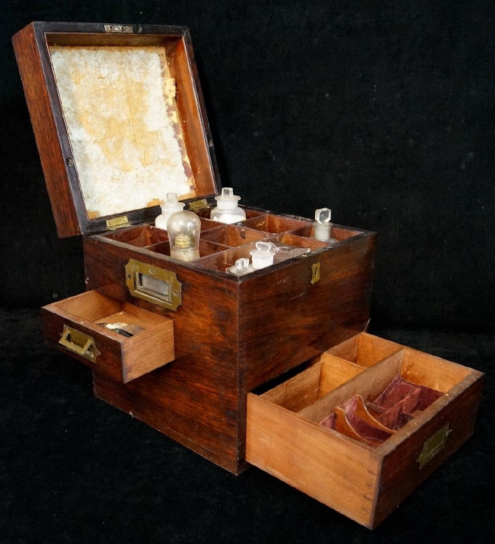 19TH C. MEDICAL BOX  WITH BOTTLES