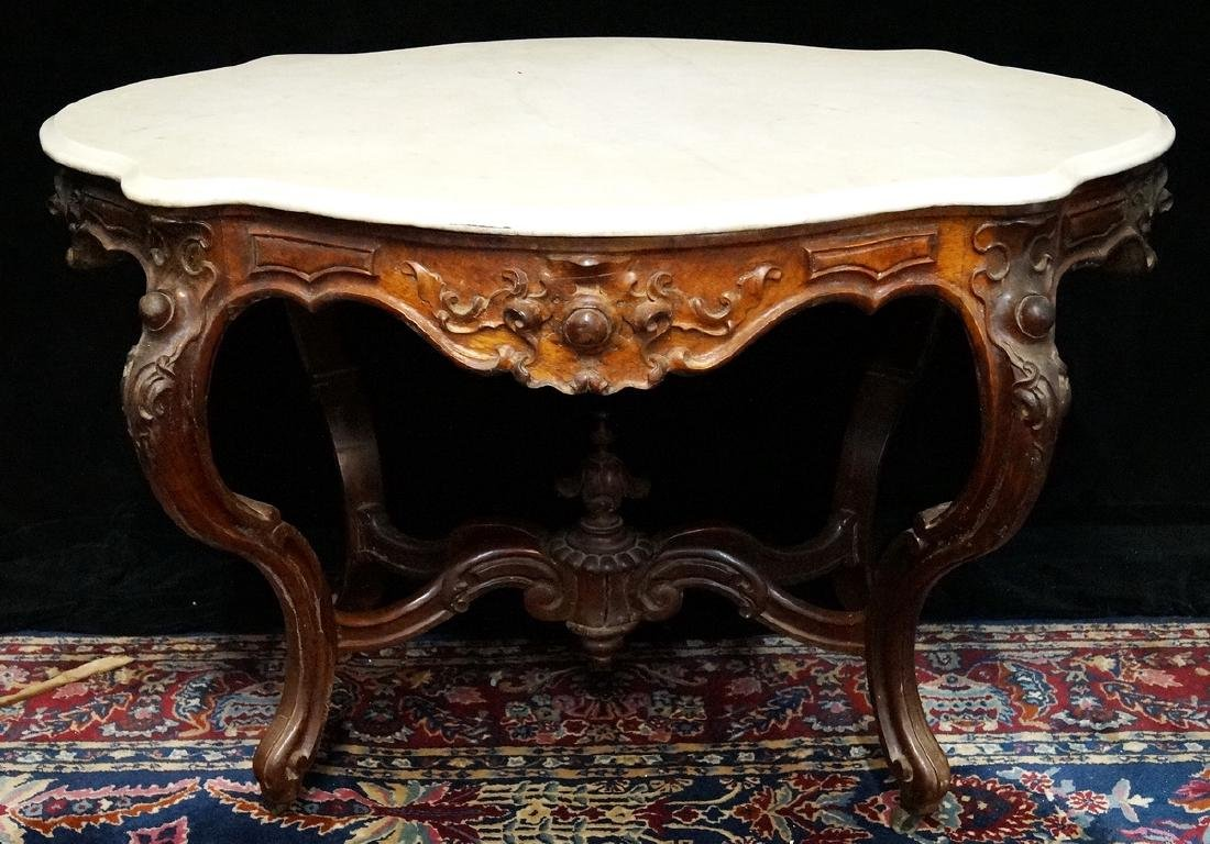 VICTORIAN ROSEWOOD MARBLE TABLE