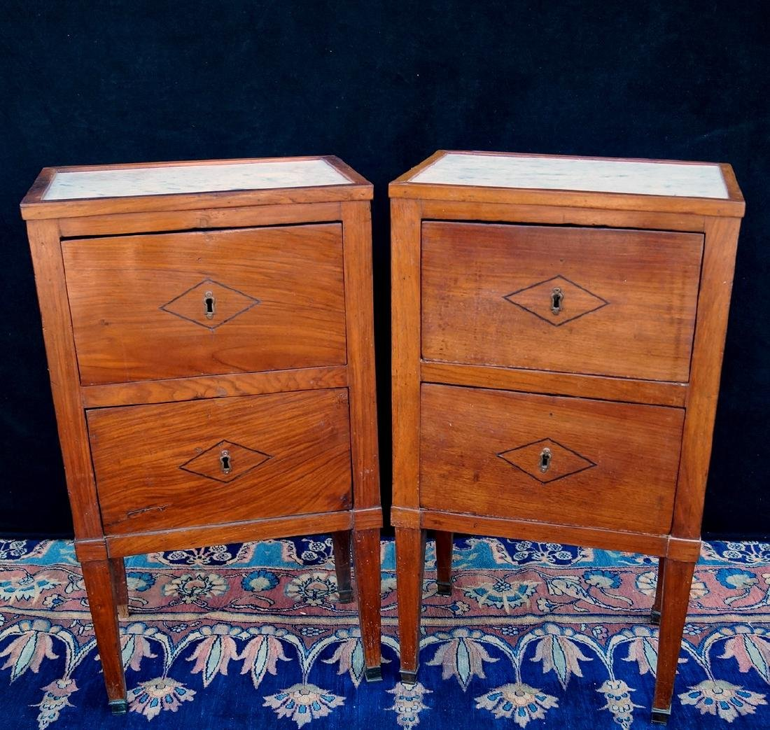 PAIR OF 19TH C. MARBLE TOP CABINETS