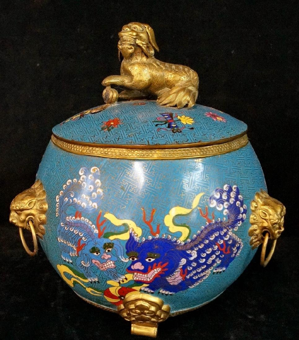 CHINESE FIGURAL CLOISONNE BOWL