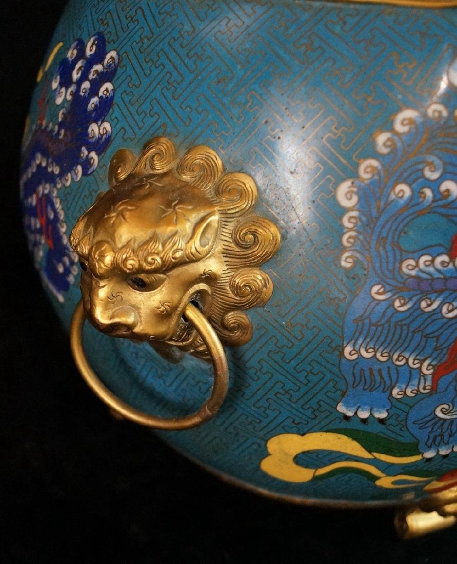 CHINESE FIGURAL CLOISONNE BOWL - 3