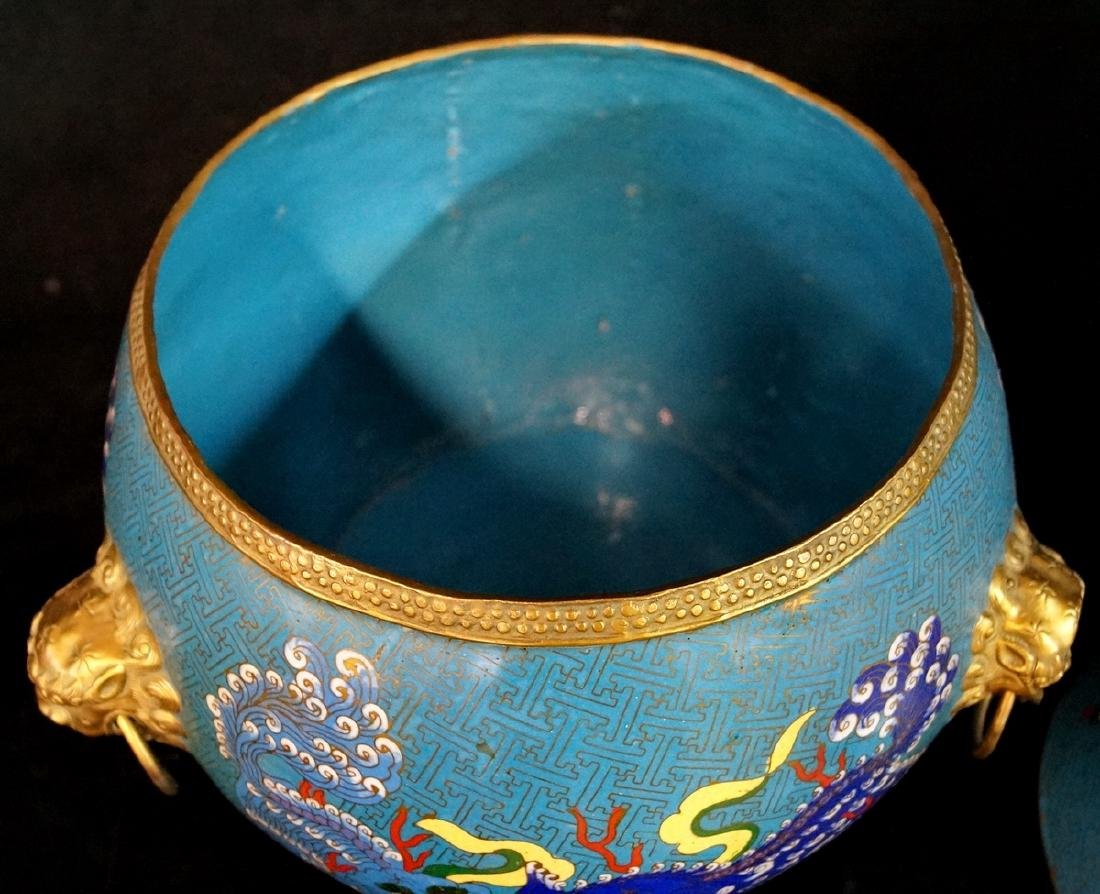 CHINESE FIGURAL CLOISONNE BOWL - 4