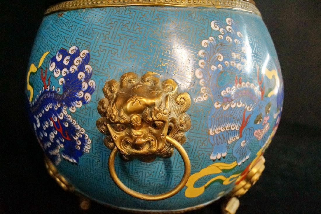 CHINESE FIGURAL CLOISONNE BOWL - 7