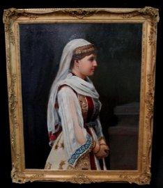 OIL ON BOARD CANVAS ORIENTALIST PORTRAIT OF A LADY