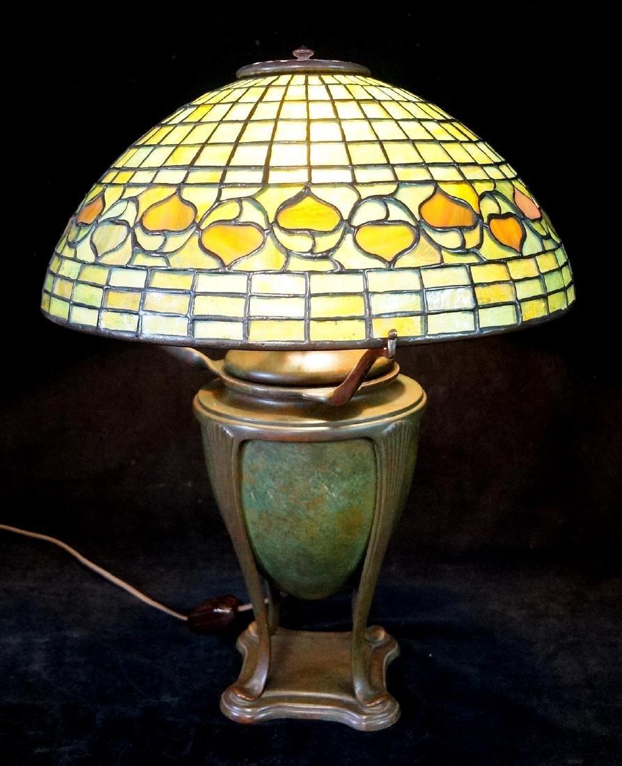 TIFFANY STUDIOS ACORN PATTERN SGN. LAMP & SHADE