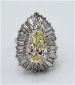 YELLOW DIAMOND RING WITH PLATINUM BAND 4.9CT CENTER