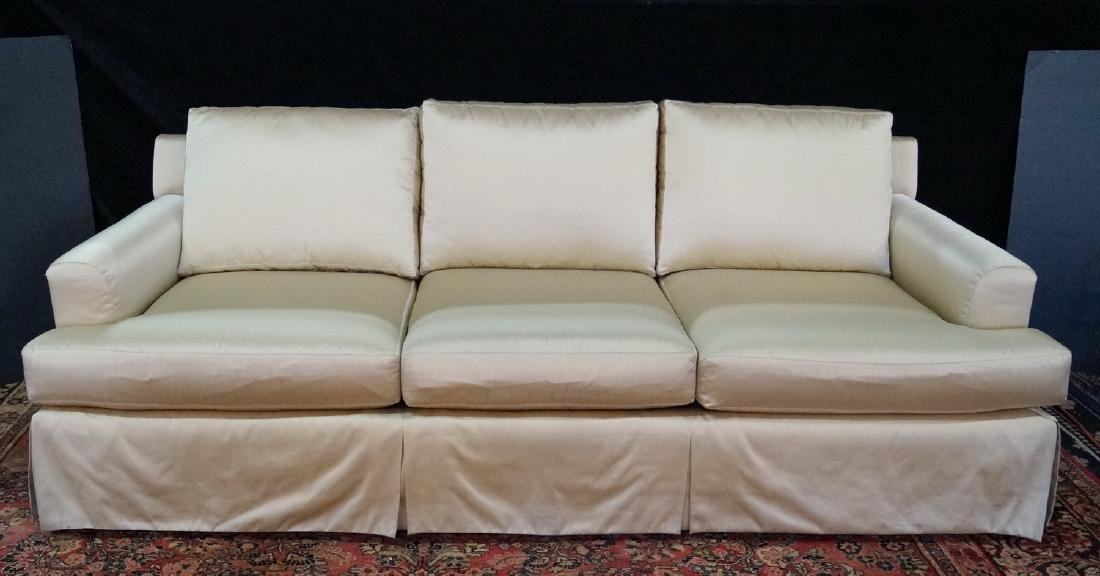 SILK UPHOLSTERED PILLOW BACK SOFA