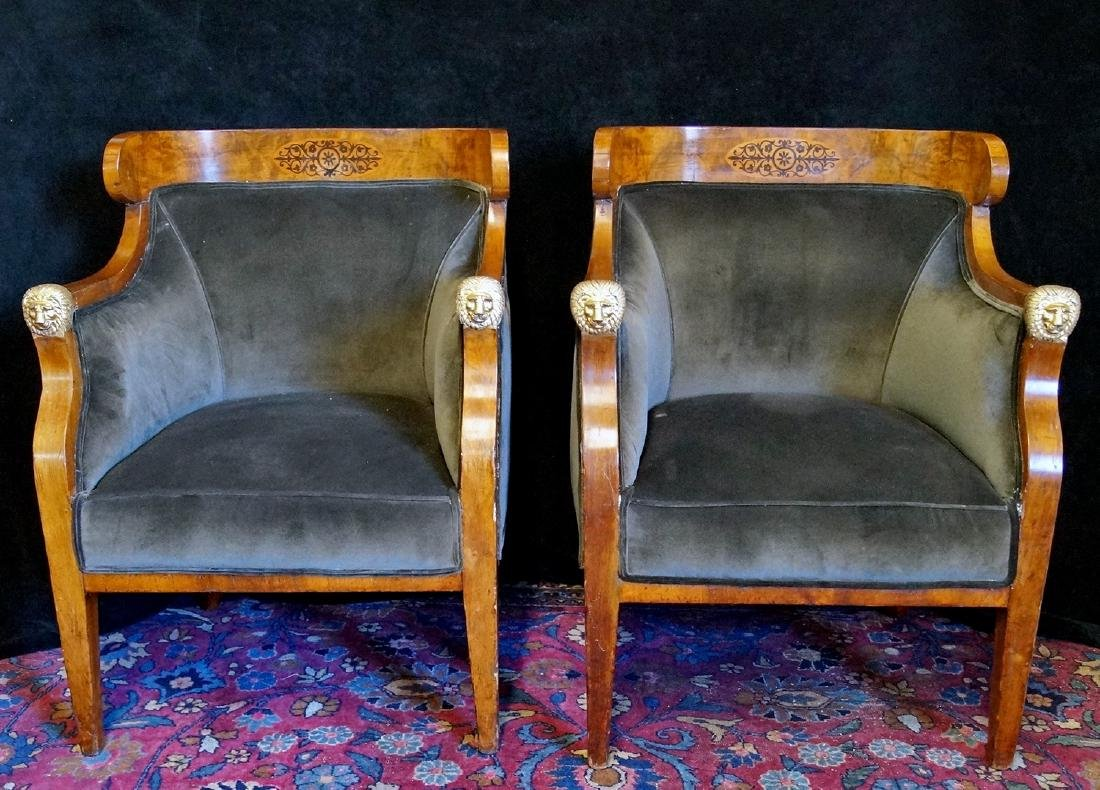 PR. 19TH C. BRONZE MOUNTED & INLAID  ARM CHAIRS