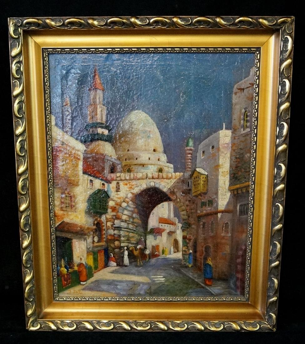IBRAHIM SAFI SGN. OIL ON CANVAS ORIENTALIST SCENE