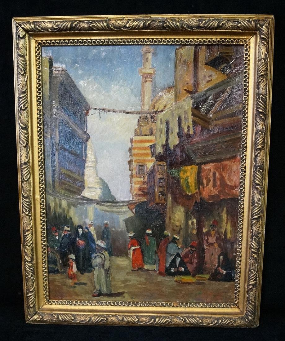 IBRAHIM SAFI SGN. OIL ON CANVAS ORIENALIST TOWN SCENE