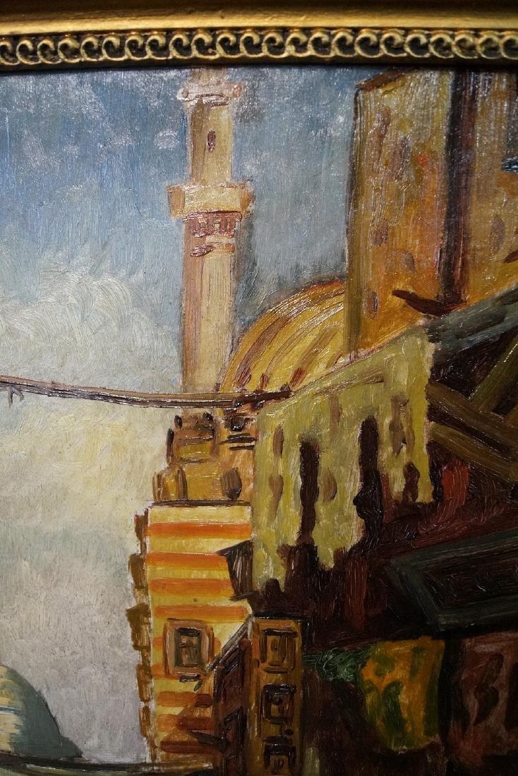 IBRAHIM SAFI SGN. OIL ON CANVAS ORIENALIST TOWN SCENE - 4