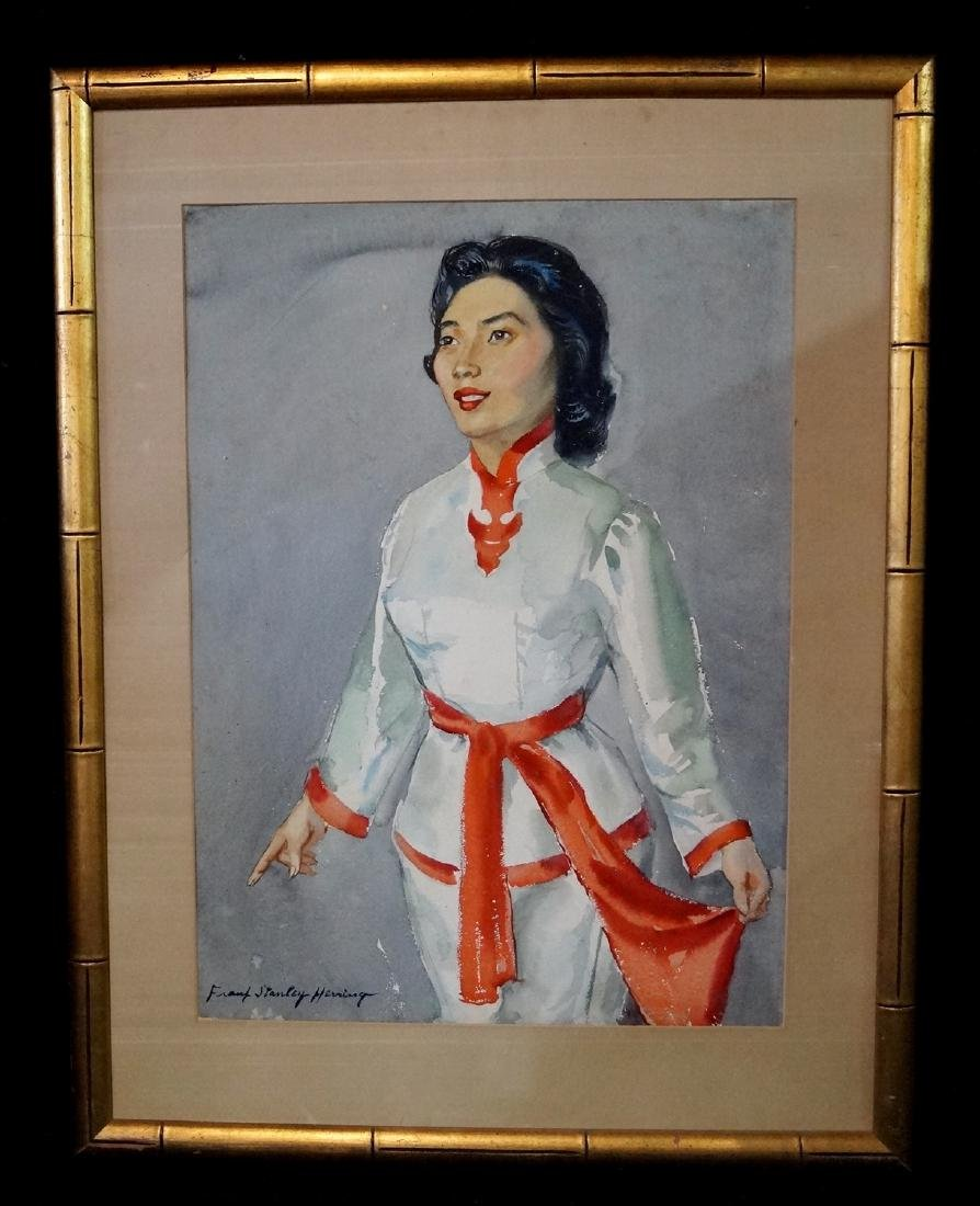 FRANK STANLEY HERRING SGN. WATERCOLOR PORTRAIT OF AN