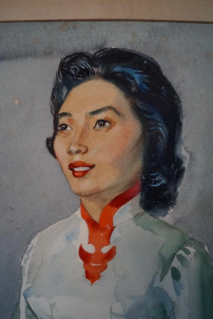 FRANK STANLEY HERRING SGN. WATERCOLOR PORTRAIT OF AN - 3