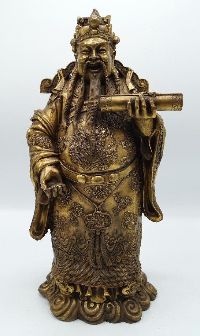 CHINESE BRONZE LONGEVITY FIGURE