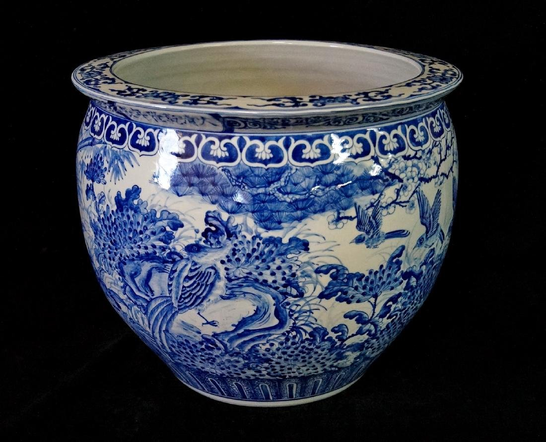 2 SIMILAR BLUE & WHITE FISH BOWLS - 12