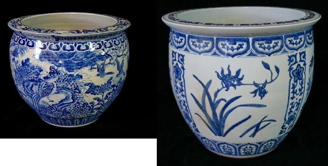 2 SIMILAR BLUE & WHITE FISH BOWLS