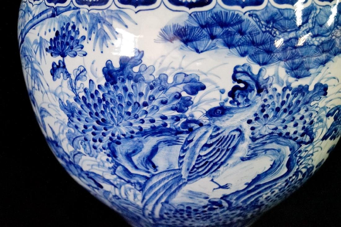 2 SIMILAR BLUE & WHITE FISH BOWLS - 2