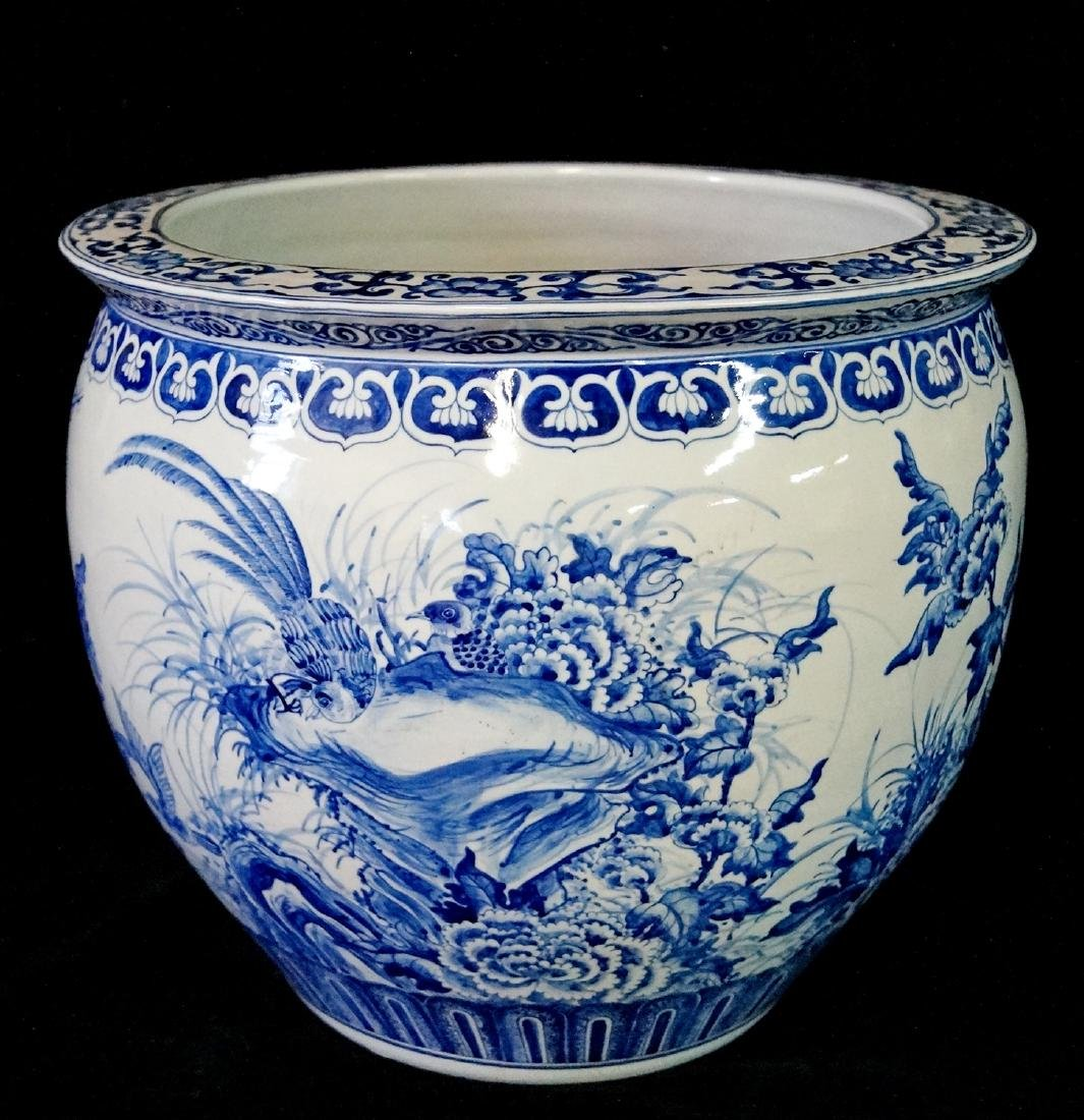2 SIMILAR BLUE & WHITE FISH BOWLS - 3