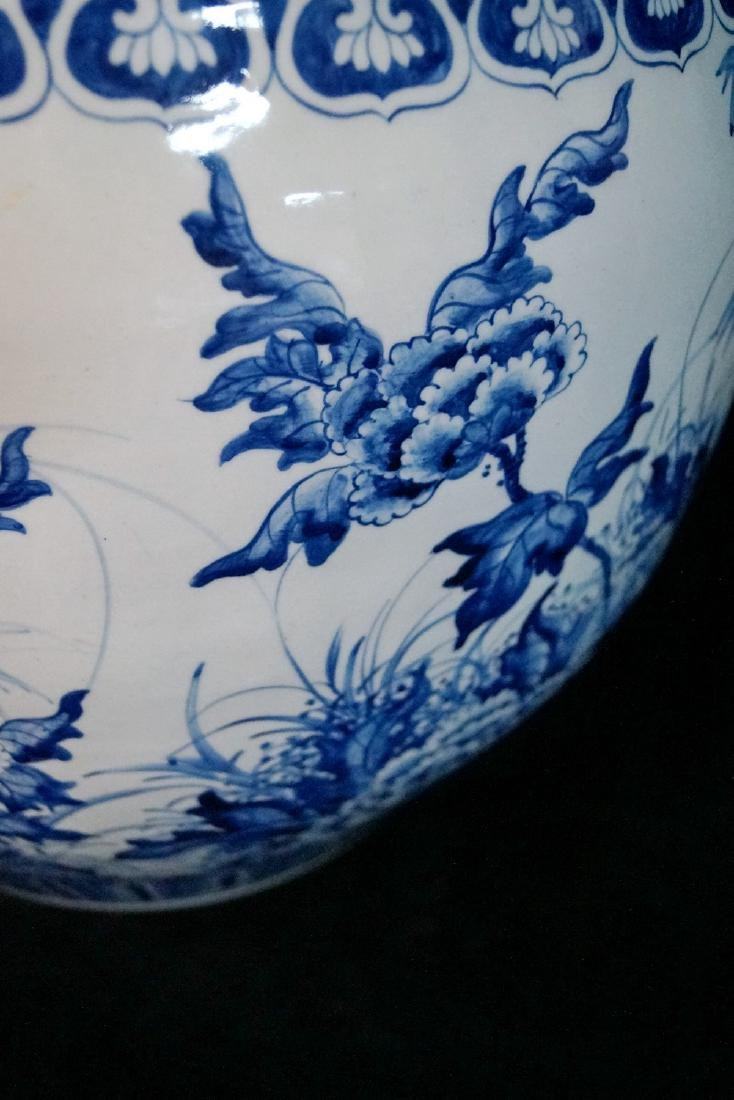 2 SIMILAR BLUE & WHITE FISH BOWLS - 4