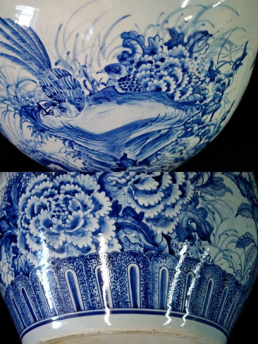 2 SIMILAR BLUE & WHITE FISH BOWLS - 5