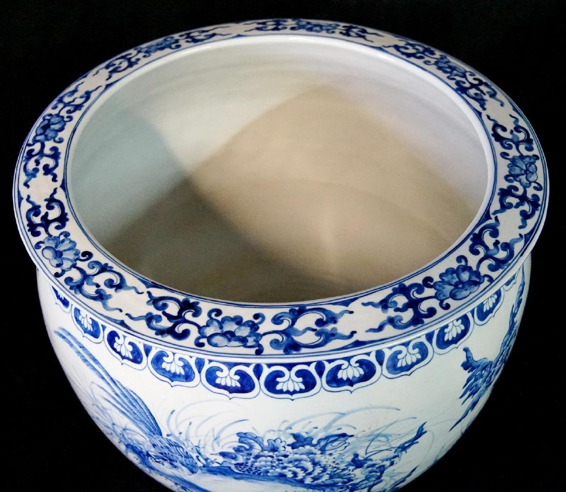 2 SIMILAR BLUE & WHITE FISH BOWLS - 6