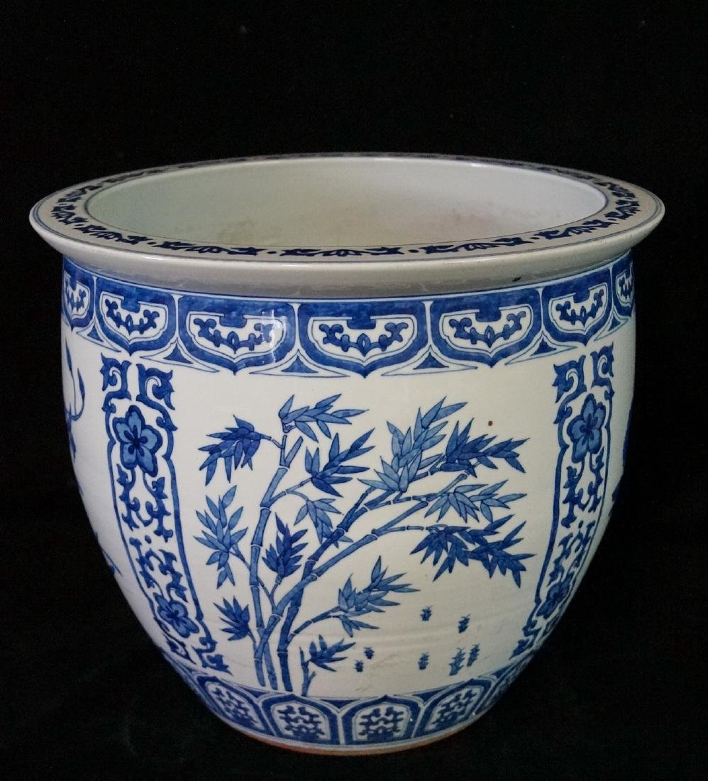 2 SIMILAR BLUE & WHITE FISH BOWLS - 7