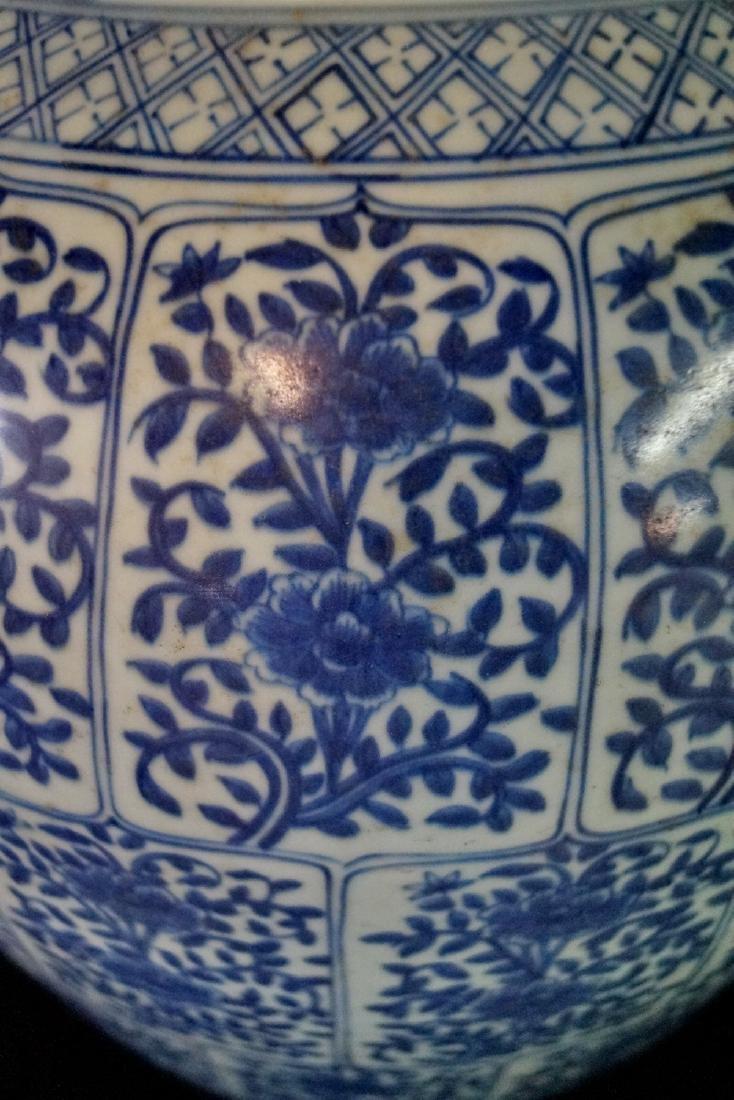 "ORIENTAL BLUE & WHITE TEMPLE JAR 25""H 13"" DIA. - 2"