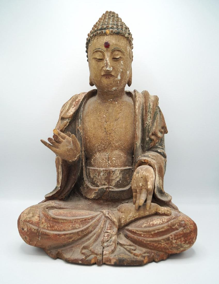 19TH C. CARVED WOOD BUDDHA