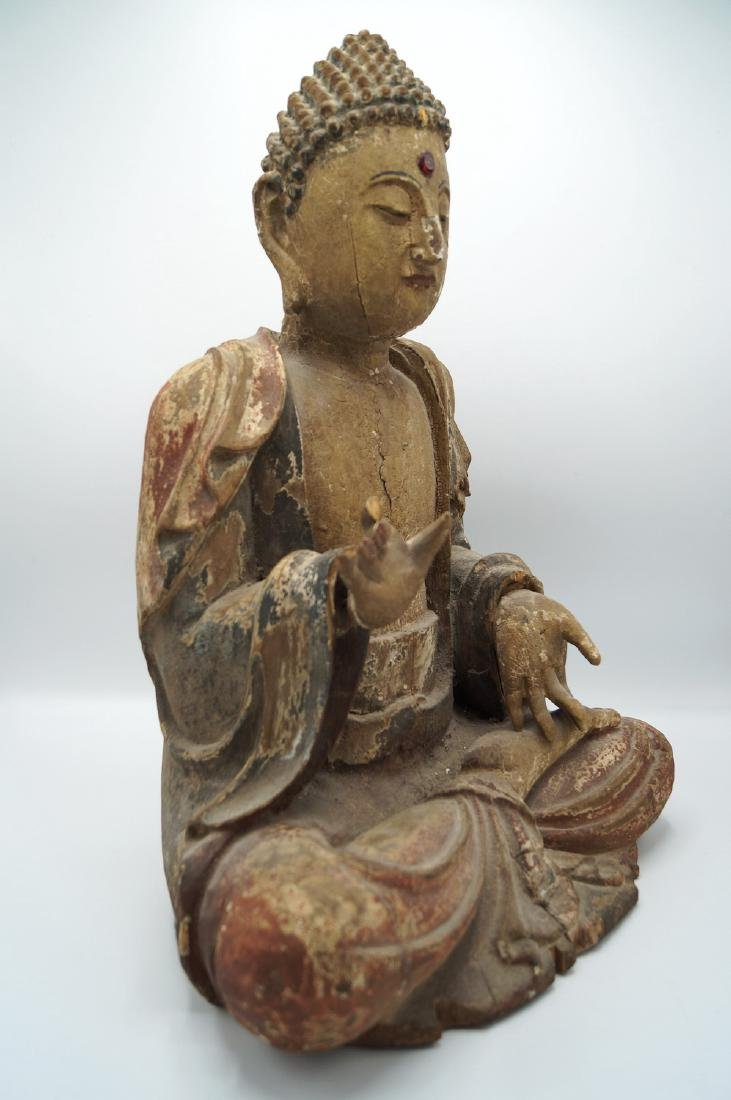 19TH C. CARVED WOOD BUDDHA - 2