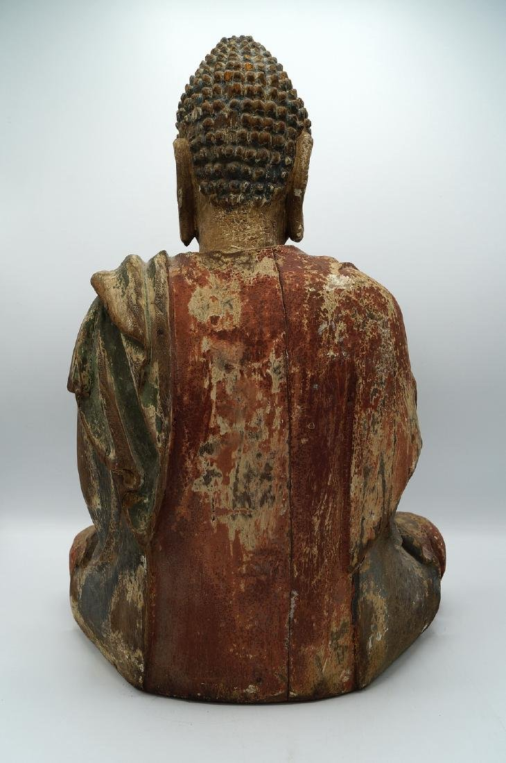 19TH C. CARVED WOOD BUDDHA - 4