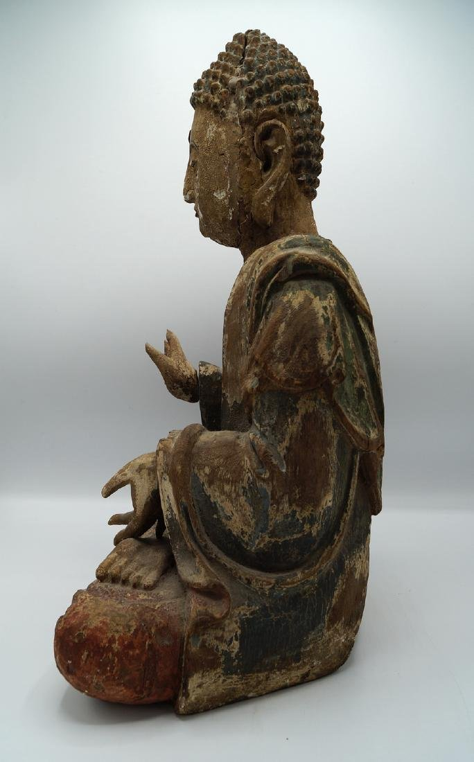 19TH C. CARVED WOOD BUDDHA - 5