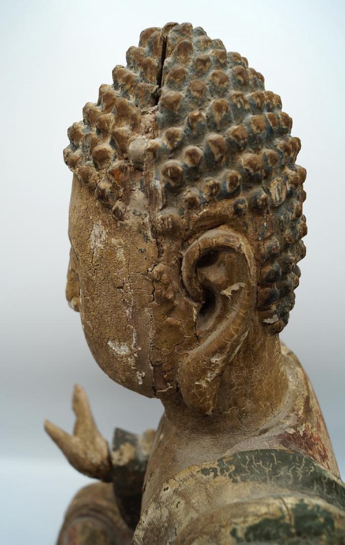 19TH C. CARVED WOOD BUDDHA - 6