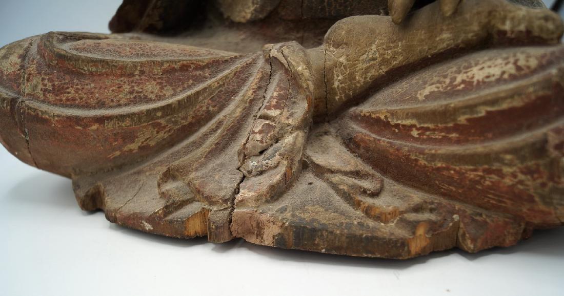 19TH C. CARVED WOOD BUDDHA - 7
