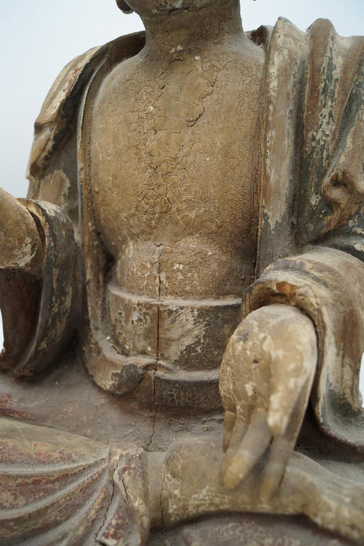 19TH C. CARVED WOOD BUDDHA - 8