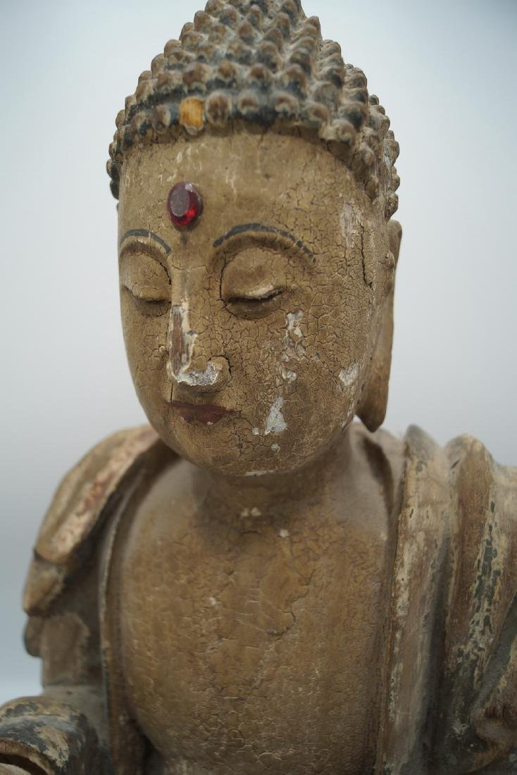 19TH C. CARVED WOOD BUDDHA - 9