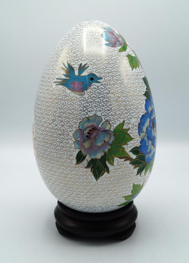 WHITE CLOISONNE EGG ON TEAK STAND - 2