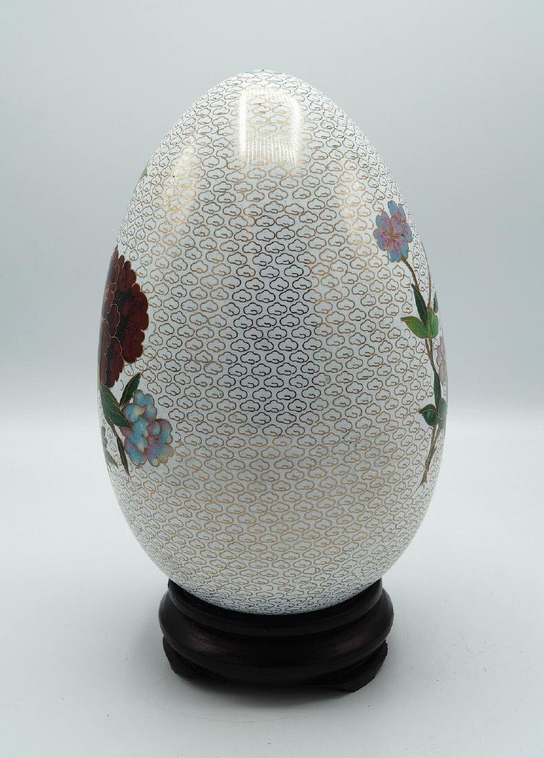 WHITE CLOISONNE EGG ON TEAK STAND - 4