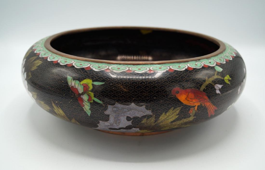 BLACK CLOISONNE BOWL - 3