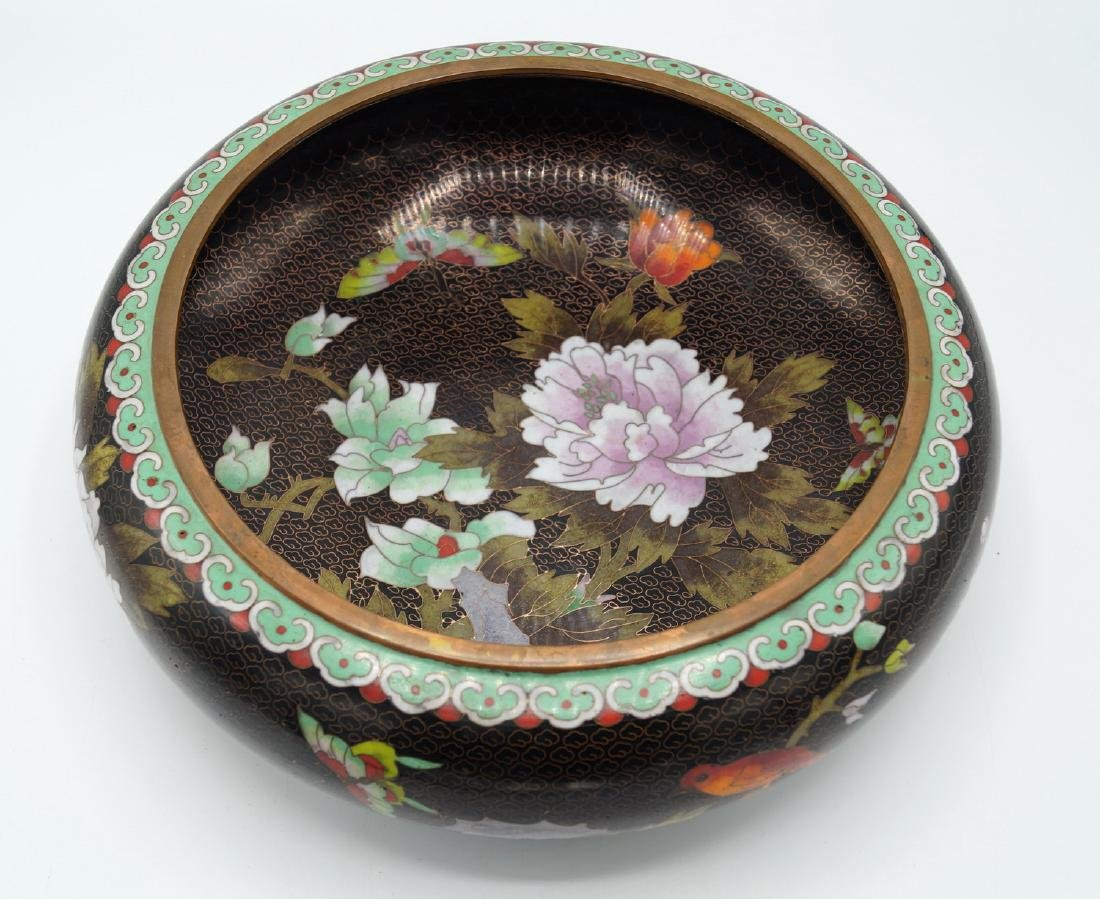 BLACK CLOISONNE BOWL - 4