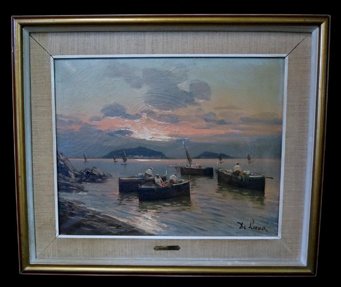 """DE LUCA SGN. OIL ON CANVAS """"BOATS IN A HARBOR"""" 16X19.5"""""""