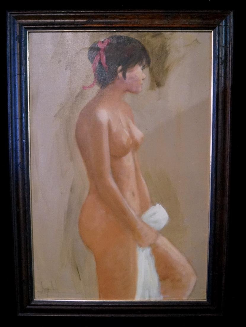 "OIL ON CANVAS ""STANDING FEMALE NUDE"" SGN. INDISTINCTLY"
