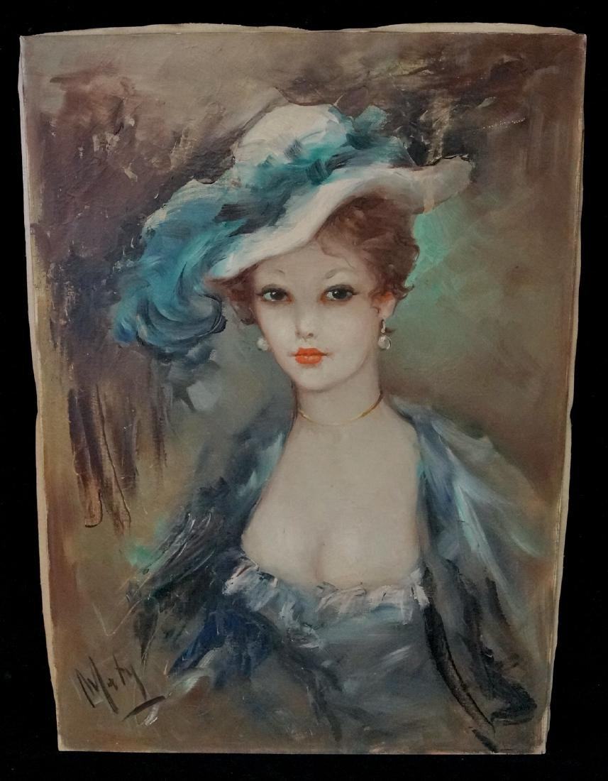 """MATY SGN. OIL ON CANVAS """"WOMAN W/ BLUE HAT"""""""