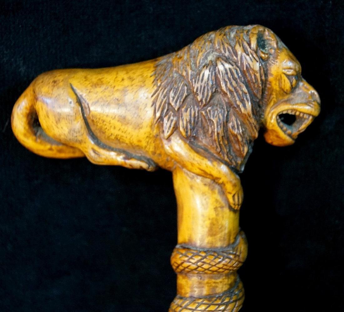 LION & SNAKE FIGURAL WALKING STICK - 3