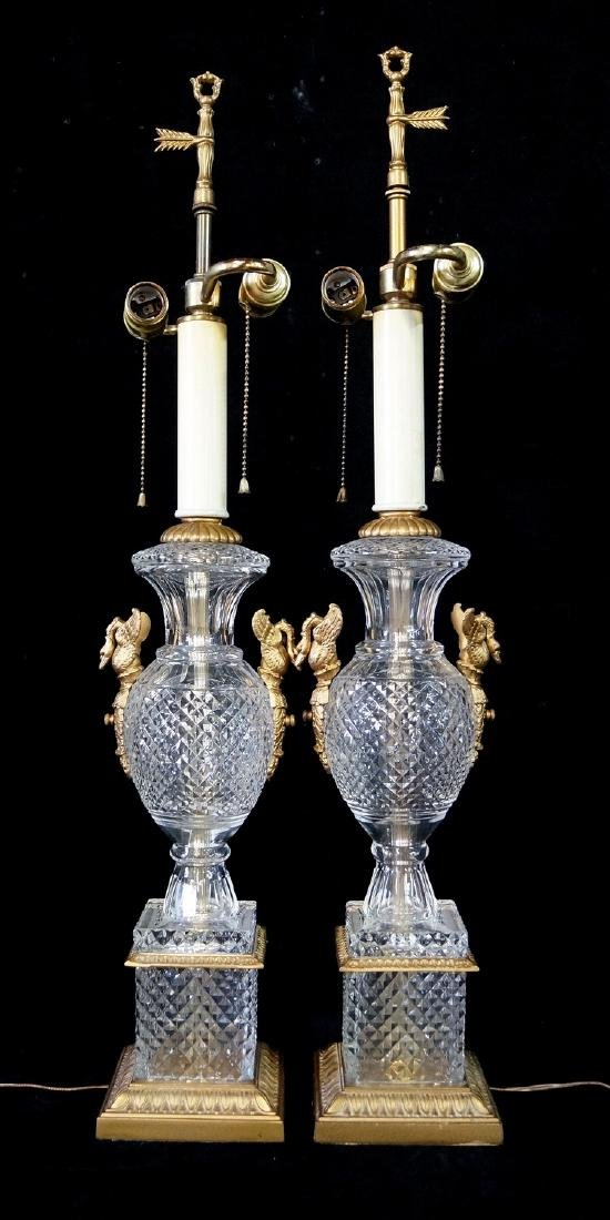 PR. BACCARAT STYLE SWAN FIGURAL BRONZE MOUNTED CRYSTAL