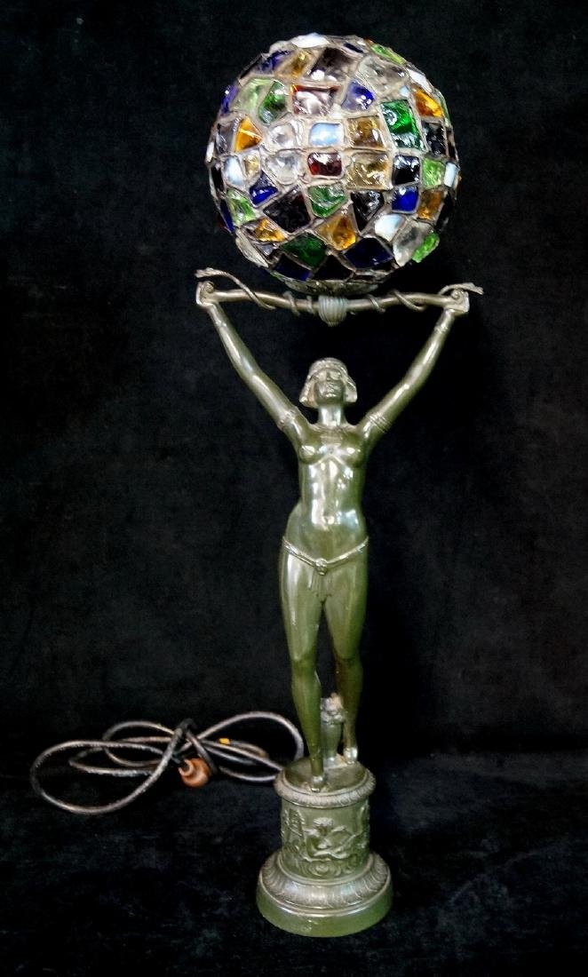 ART DECO METAL FIGURAL LAMP WITH LEADED GLOBE SHADE