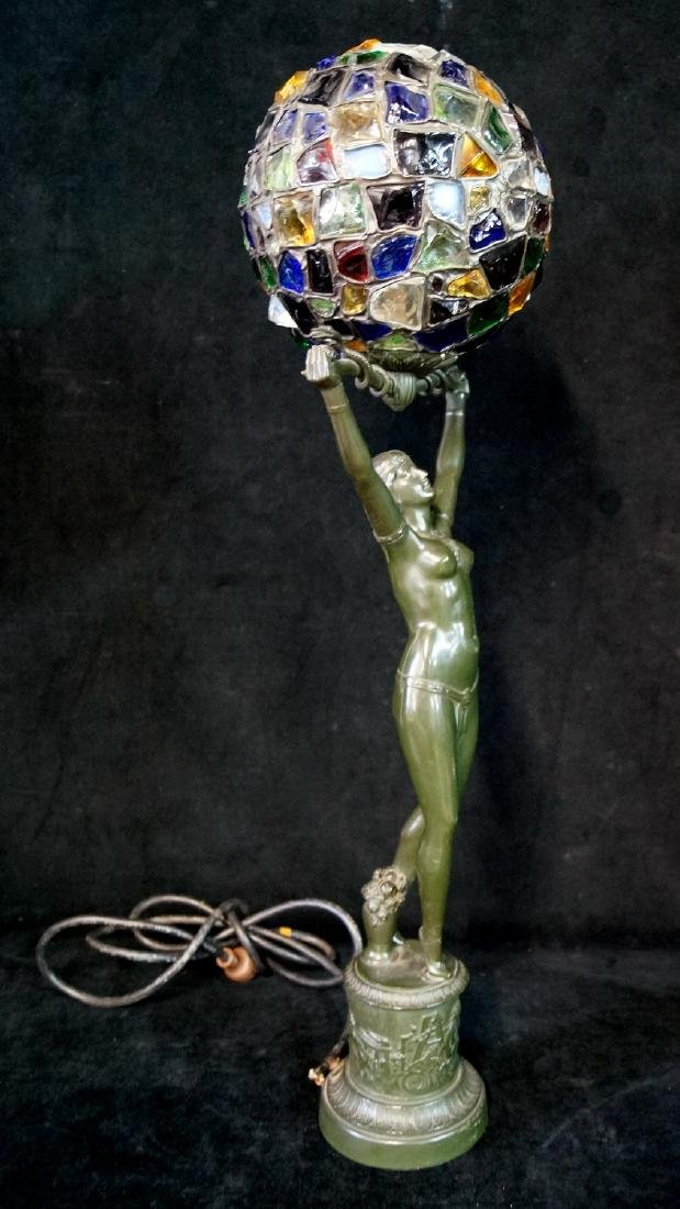 ART DECO METAL FIGURAL LAMP WITH LEADED GLOBE SHADE - 5