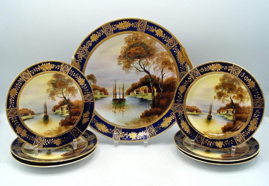 7 PC. NORITAKE HAND PAINTED DESSERT SET