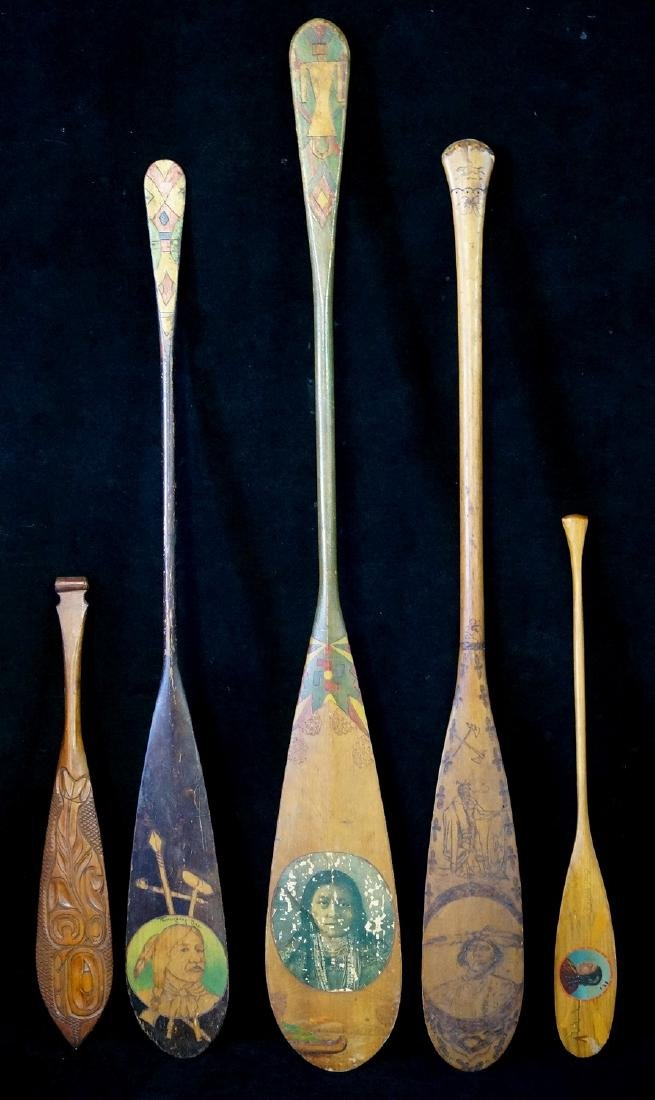 5 CARVED & PAINTED INDIAN MOTIF PADDLES